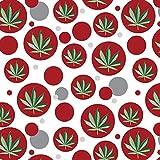 Premium Gift Wrap Wrapping Paper Roll Pattern - Marijuana Pot Weed Bud Ganja Green Mary Jane Leaf - Red