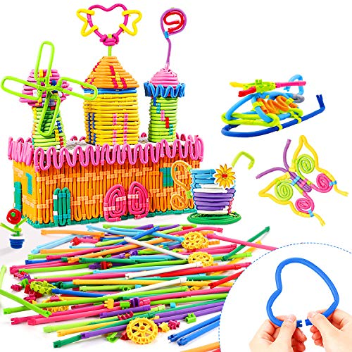 Peradix Building Toys 77 PCS DIY Sticks Learning Set for Kids, 360° Bendable Molding Colorful Soft Straw Blocks Gear Set for Early Imagination Educational Activity Center Game with Storage Bag