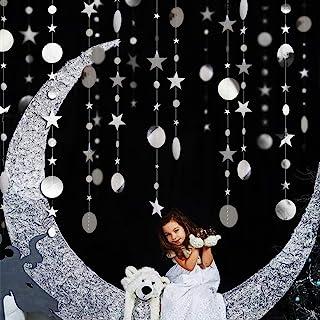 Bling Bling Silver Twinkle Star Garland Streamer Kit for Party Decorations Glitter Metallic Circle dot Garland Multi-Shape...