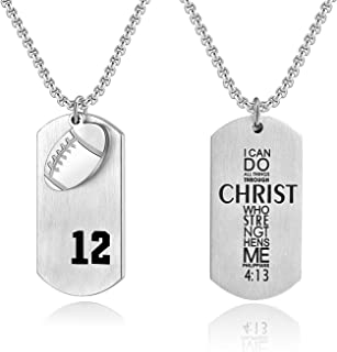 Bible.Shop Men's Football Player Number 12 Stainless Steel Cross Dog Tag Pendant I Can Do All Things Bible Verse Necklace