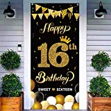 """WATINC Happy 16th Birthday Door Cover Banner Sweet Sixteen DecorativeBackdrop Background 78"""" x35"""" Large Black Gold Sign Poster House Party Decorations Supplies for Indoor Outdoor Photo Booth"""