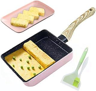 Japanese Omelette Pan Non-stick Coating Tamagoyaki Egg Pan Rectangle Mini Frying Pan, with Silicone Spatula & Brush, Black...