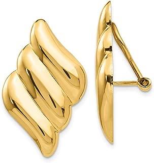 Solid 14k Yellow Gold Non-Pierced Clip On Fancy Earrings (19mm x 30mm)