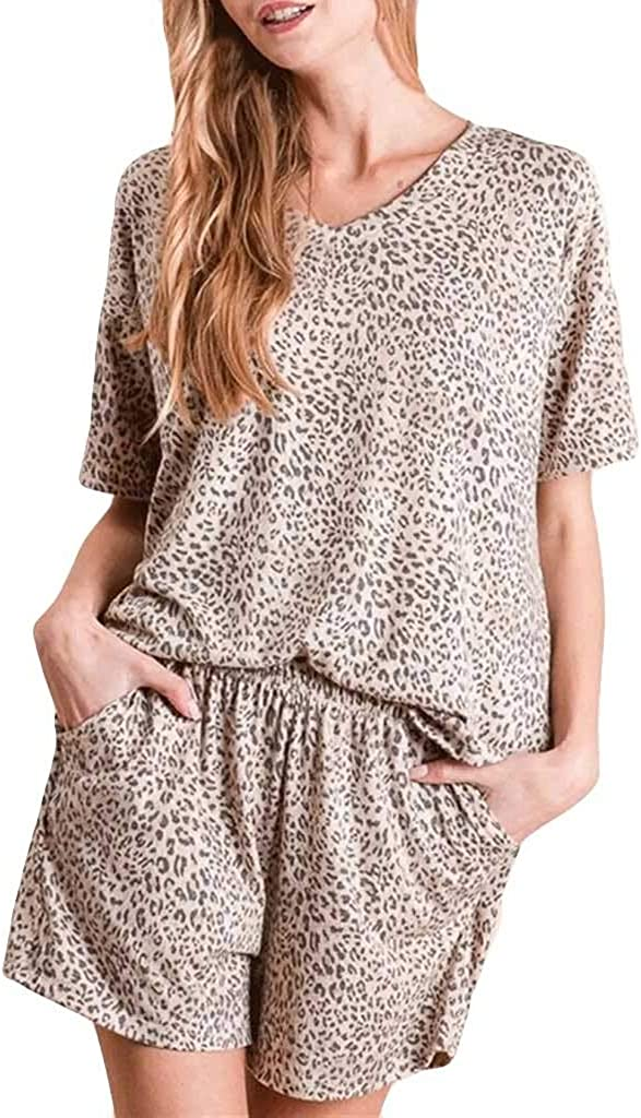 Women Pajamas Leopard Print Sets Leisure Wear Lounge Wear Suit Home Tops+Pants