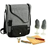 Picnic at Ascot - Wine Carrier Deluxe with Glass Wine Glasses and Accessories for Two, Houndstooth