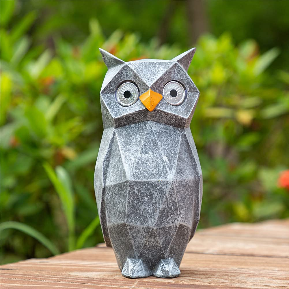 CASLONEE Garden Owl Statue Cute Animal Resin Sculpture with Solar Powered 2 LED Eyes Figurine for Indoor Outdoor Decor Waterproof Patio Yard Lawn Decoration