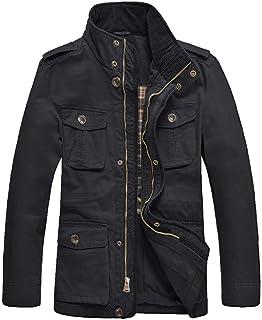 JYG Men's Casual Military Windbreaker Jacket Cotton Stand Collar Field Coat