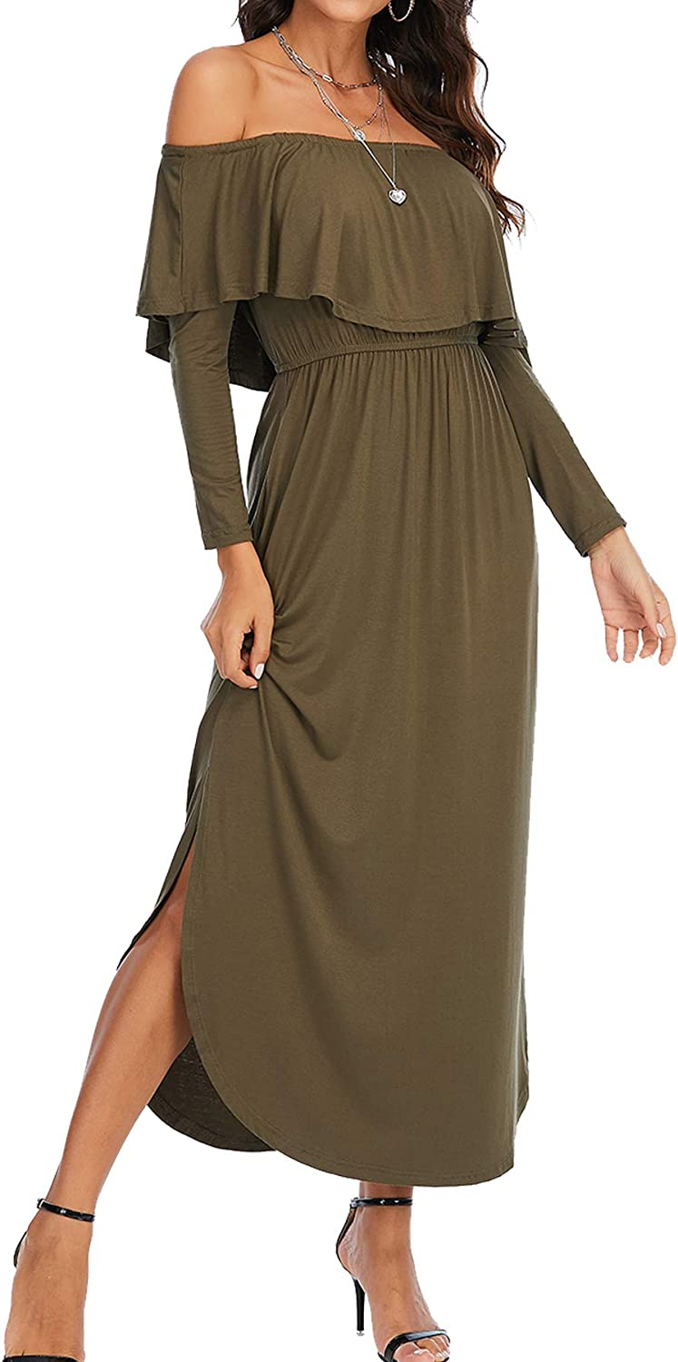 Tinkomu Long Sleeve Solid Cotton Baggy Style Harem Maxi Dresses for Women Round Neck with Bubble Hem and Ruched Design
