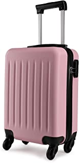 """KONO 19 inch Cabin Suitcase Hard Shell Carry-on Hand Luggage with 4 Spinner Wheels Lightweight ABS Trolley Case Travel Bag (19"""", Pink 1872)"""
