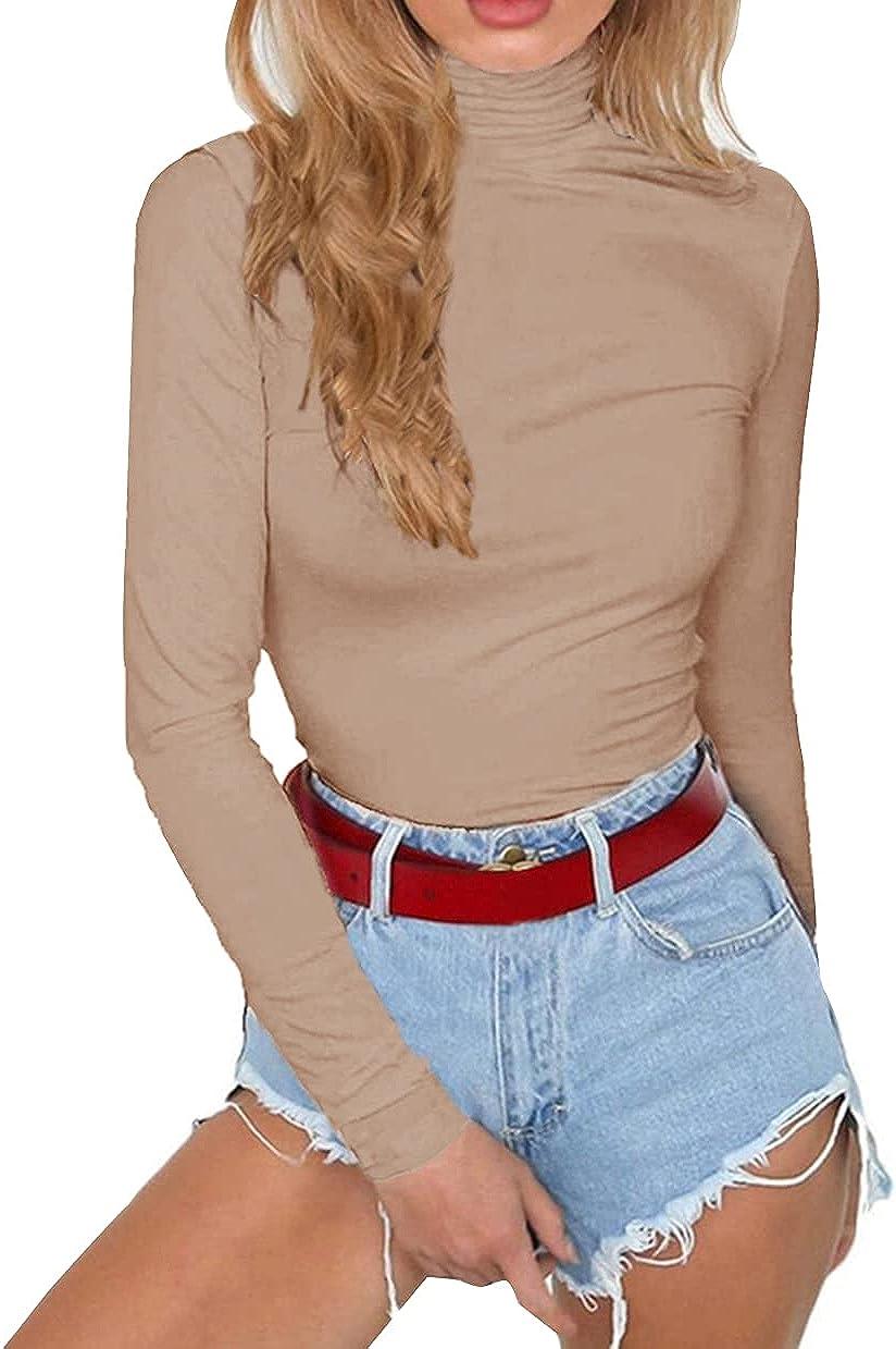PALINDA Women's Long Sleeve Striped Basic Solid Round Neck Bodysuit Stretchy Leotards