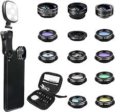 کیت لنز دوربین تلفن Godefa ، 14 در 1 لنز با سلفی حلقه نور برای آیفون Xs ، Xr ، 8 7 6s Plus ، سامسونگ و سایر گوشیهای هوشمند Andriod ، کلیپ جهانی در زاویه دید گسترده + لنزهای دوربین ماکرو زوم و بیشتر