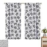 2020 Gardome Sheer Curtains Soccer,Cartoon Funny Football Numbers Pattern of Smiling Digits Sports and Education Theme,Multicolor,for Room Darkening Panels for Living Room, Bedroom 84' W x 84' L