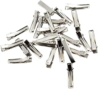 Perfeclan 30 / 100pcs Alligator Hair Clips With Single Tooth Adjustment Base - Silver, 32mm 30pcs