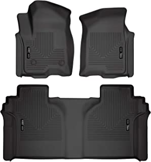 Husky Liners Fits 2019-20 Chevrolet Silverado/GMC Sierra 1500 Crew Cab - with Carpeted Factory Storage Box Weatherbeater Front & 2nd Seat Floor Mats,Black,94021