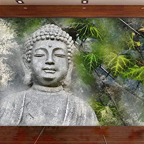 XLXBH fotobehang, zelfklevend, 3D, papier, handbeschilderd, Boeddha-kop, Ginkgo Biloba, woonkamer, muurschildering, groen, kinderkamer, kantoor, eetkamer, woonkamer, kubus 300x210 cm (LxH) 6 bandes - auto-adhésif