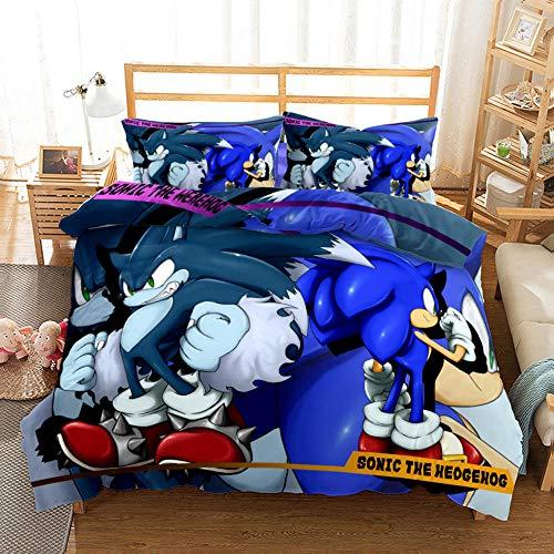 NiQiShangMao Sonic Bedding Set Single Double Size, 3 Piece Classic Game Personajes Funda nórdica Sonic con 2 Fundas de Almohada Juego de edredón de Dormitorio 3D para niños