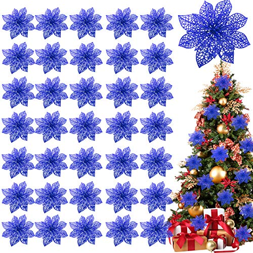 TURNMEON 36 Pack Christmas Flowers Decorations, Glitter Poinsettia Christmas Tree Ornaments, 4' Artificial Silk Flowers Picks for Christmas Wreaths Garland Holiday Decoration (Navy)