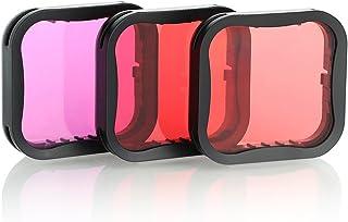 SOONSUN - Juego de 3 filtros de buceo para GoPro Hero 5 6 7 color negro rojo rojo claro y magenta filtro – mejora los colores para varias condiciones de vídeo y fotografía bajo el agua