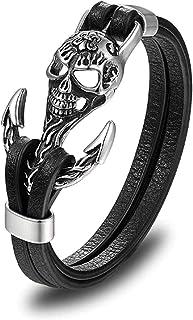 HAQUIL الذئب مجوهرات جلد أسود سوار للرجال والأولاد
