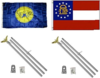 ALBATROS 3 ft x 5 ft City of Atlanta with State of Georgia Flag with 2 Aluminum with Pole Kit Sets for Home and Parades, Official Party, All Weather Indoors Outdoors