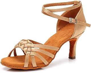2d1260ec HROYL Zapatillas de Baile de salón de satén Mujer Zapatos de Baile Latino  LP-218