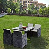 Panana 4 Seater Rattan Garden Furniture Set Dining Table and Chairs Stools Set Outdoor Patio and Conservatory Grey Rattan with Beige Cushions