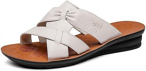 CWJ Confortable Décontracté Fond Mou Les Les dames Chaussures de Plage Couleur Unie Simple Véritable Pantoufles