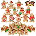 12 PC Gingerbread Man Ornaments for Christmas Tree, Plastic Christmas Gingerbread Hanging Mini Christmas Tree Ornament Holiday Decor