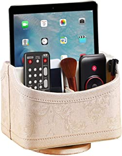 YAPISHI Gold Flower Pattern Leather Remote Control Holder, 360 Degree Spinning Desk TV Remote Caddy/Box, Nightstand Organizer for Controller, Media, Calculator, Mobile Phone and Pen Storage