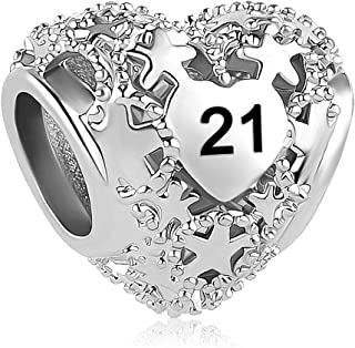 Q&Locket Sweet 16 Charms 18th Birthday 21 Years of Love Charms Heart Beads for Bracelets
