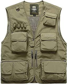 XXT Pocket Vest Polyamide Fiber Spring and Autumn Men's Sports and Leisure Multi-Pocket Vest Practicality (Color : Khaki, Size : 2XL)