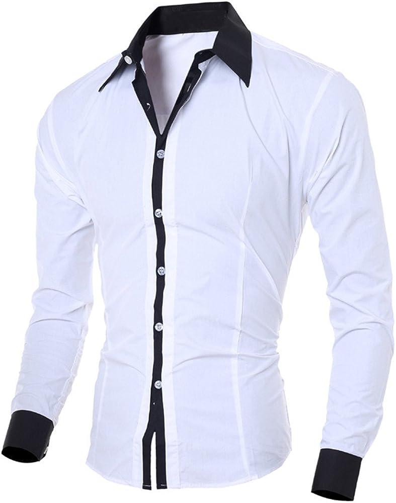 Mens Slim Fit Shirt, Long Sleeve Button Down Dress Shirt Patchwork Formal Shirt Casual Tops