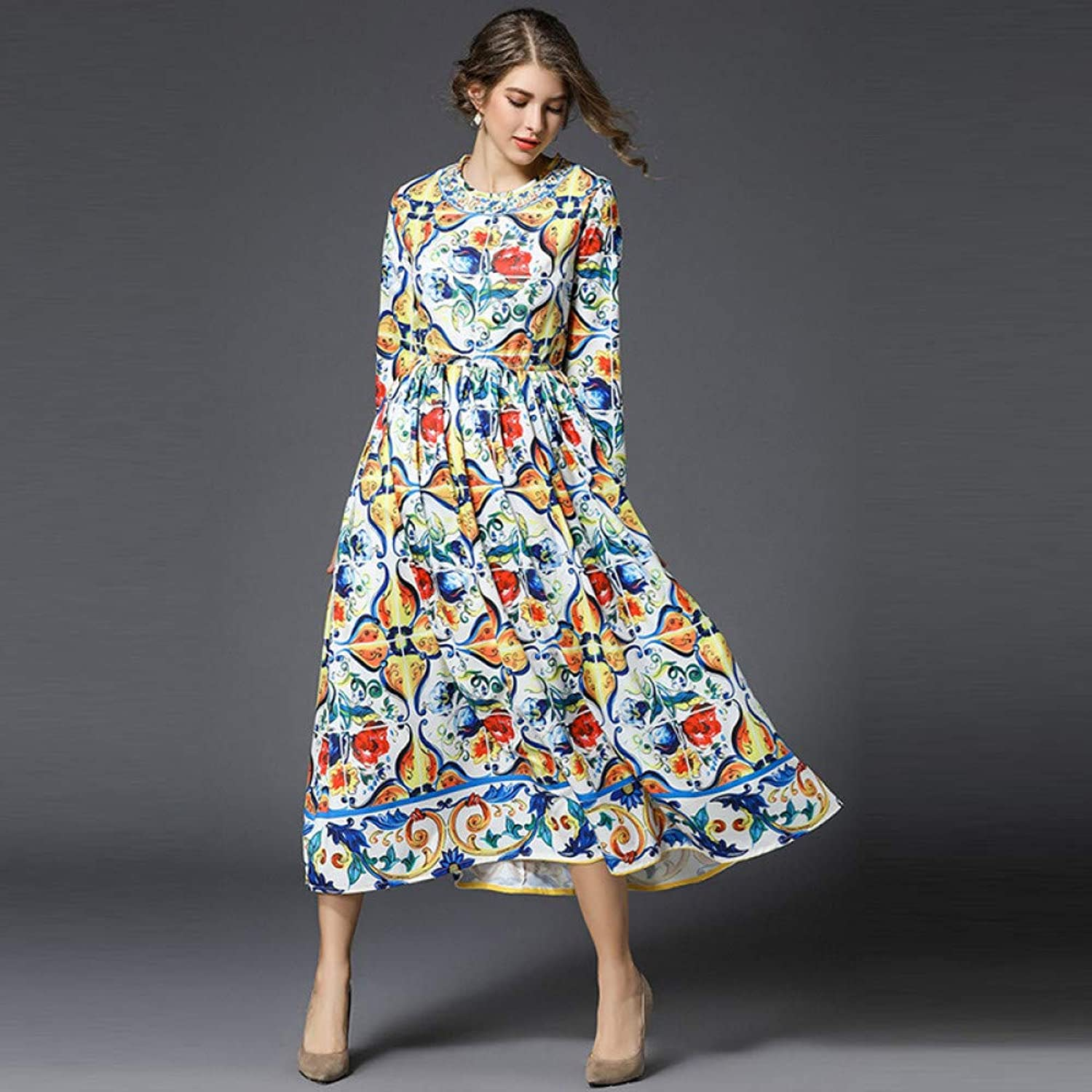 Cxlyq Dresses Women's Autumn Retro bluee and White Porcelain Print Large Swing Round Neck Long Sleeve Loose Dress Long Skirt