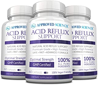 Approved Science® Acid Reflux Support - with Melatonin, Marshmallow Root, L-Taurine 180 Vegan Friendly Capsules