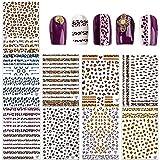 9 hojas Estampado de leopardo Pegatinas Uñas, Autoadherentes (1500 + piezas), Sexy Estampados de Animales Nail Art Stickers de Uñas Postizas Adhesivos Decoracion de postizas uñas para Niña Mujer