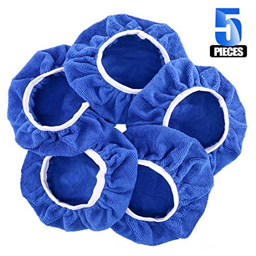 "Glarks 5Pcs 9-10 Inch Car Polisher Pad Bonnet Soft Microfiber Polishing Bonnet Buffing Pad Cover for 9"" and 10"" Car Polisher"