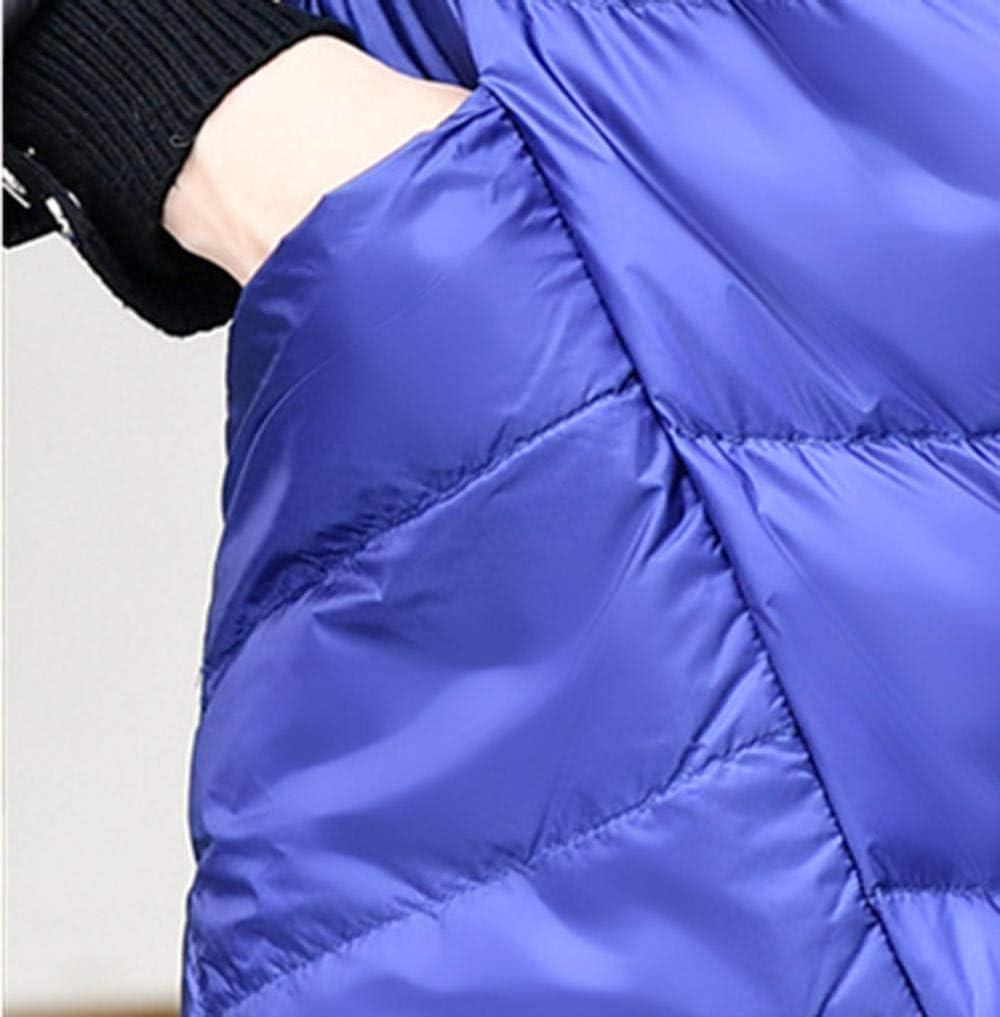 RYDRQF Damen Dicker Mantel Damen Daunenjacke Langer Abschnitt Leichter Daunenmantel Parka über den Knie Goldschwarz