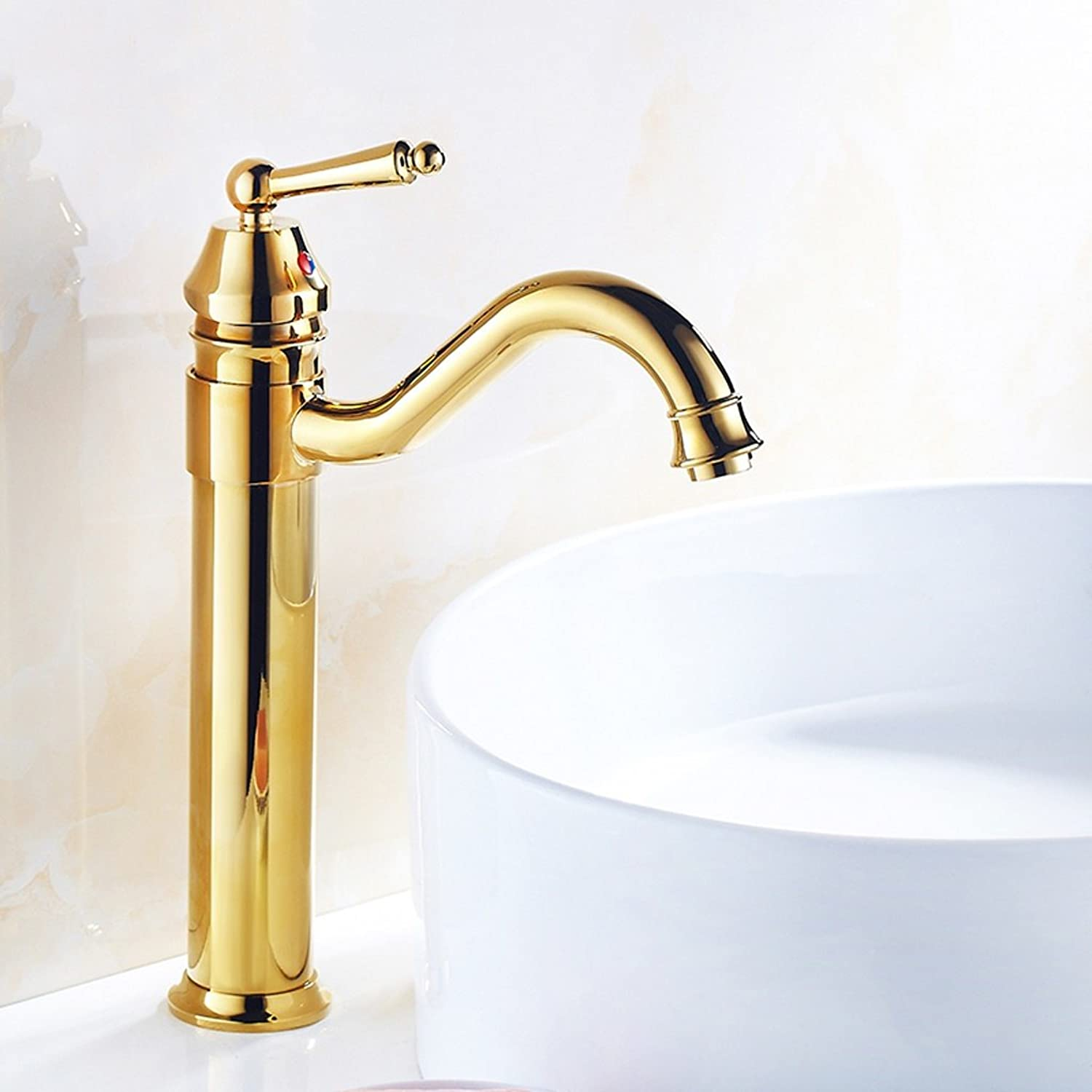 LJ All Bronze gold-plated Washbasin Increase High Single Hole Faucet