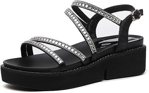 HAIZHEN chaussures pour femmes Sandales Femme étudiant été Sandales plates Mode Casual Chaussures de fille Pour femmes (Couleur   Noir, taille   EU36 UK3.5 CN35)