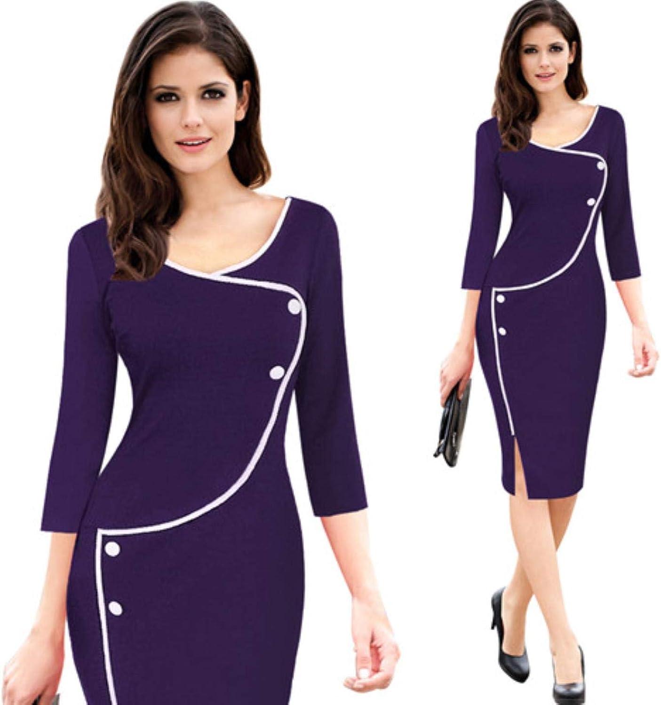 BKqINwNw Women's Simple Split Casual Long Sleeve Dress