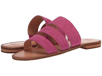 FRYE AND CO. Evie 3 Band Slide (Magenta Suede) Women