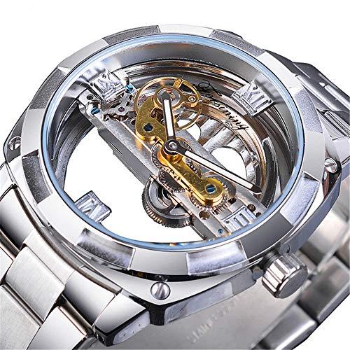 Relojmecánico de diseño Transparente para Hombres, Relojautomático, Cuadrado Plateado, Engranaje Dorado, Esqueleto, Cinturones de Acero Inoxidable, RelojSaati