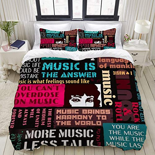 Yaoniii bedding - Duvet Cover Set, Urban Vintage Abstract Music Collage Style Retro Dj Club Disco Event Party Festival Hipsters Vinyl,3-Piece Comforter Cover Set 200 x 200 cm +2 Pillowcases 50 * 80cm