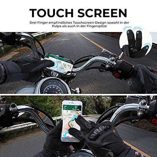 Motorrad Handschuhe Winter Warm Handschuhe Touch Screen Wasserdicht Winddicht Sporthandschuhe ( XL,Schwarz) - 3