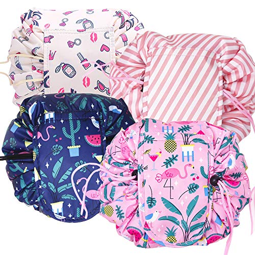 4 Pack Lazy Cosmetische Tas Set Reizen make-up tas Trekkoord Organisator Tassen Flamingo Waterdichte Gepersonaliseerde Make-up Opslag Tassen wassen Tassen Badkamer Toilettas Pouch Geschenk voor Vrouwen Dames Meisjes