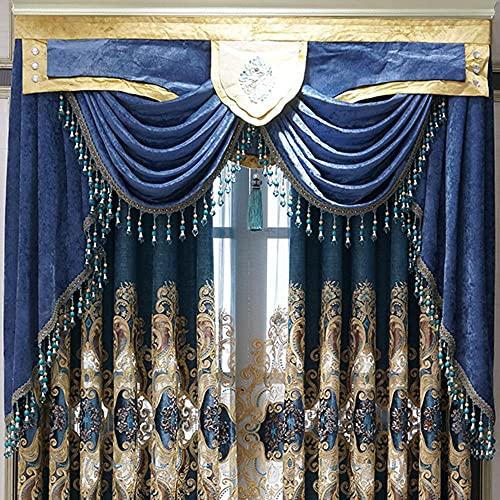 Cortinas de chenilla embidered de estilo europeo con aislamiento térmico y sombreado acabado personalizado cortinas para estar comedor con cenefa azul, 150 x 250 cm, 1 unidad, cinta plisada