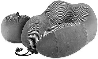 ネックピロー 低反発 旅行用 まくら 携帯枕 - Luxsure U型 首枕 頚椎肩こり改善 飛行機 旅行用 トラベル枕 枕と収納袋が一体となり 携帯ポケットが付いています(グレー)