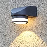 Dr.lazy 7W LED Apliques de exterior, Focos pared balcón, Apliques de Pared Lámpara Moderno, 700 Lúmenes, Aplique para exterior, 3000K luz blanca cálida, impermeable IP54, Aluminio (Negro-3000K)