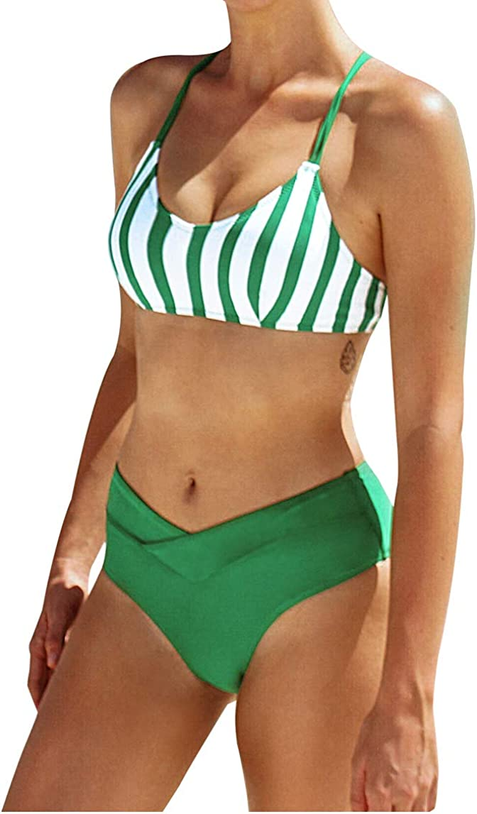 CUPSHE Women's Stripe Solid famous Credence Crisscrossed High Green Straps Waist