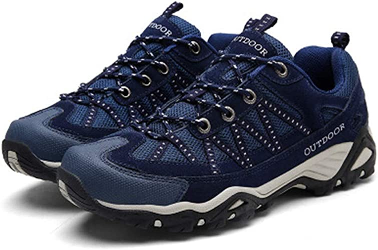 DSX Chaussures de Randonnée pour Hommes Chaussures de Randonnée en engrener paniers Trekking Camping Chaussures de plein air Hommes paniers, Bleu, 9,5UK